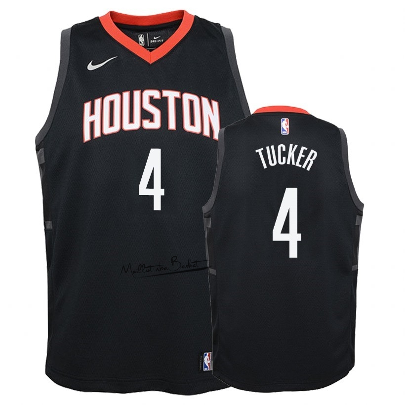 Maillot NBA Enfant Houston Rockets NO.4 P.J. Tucker Noir Statement 2018