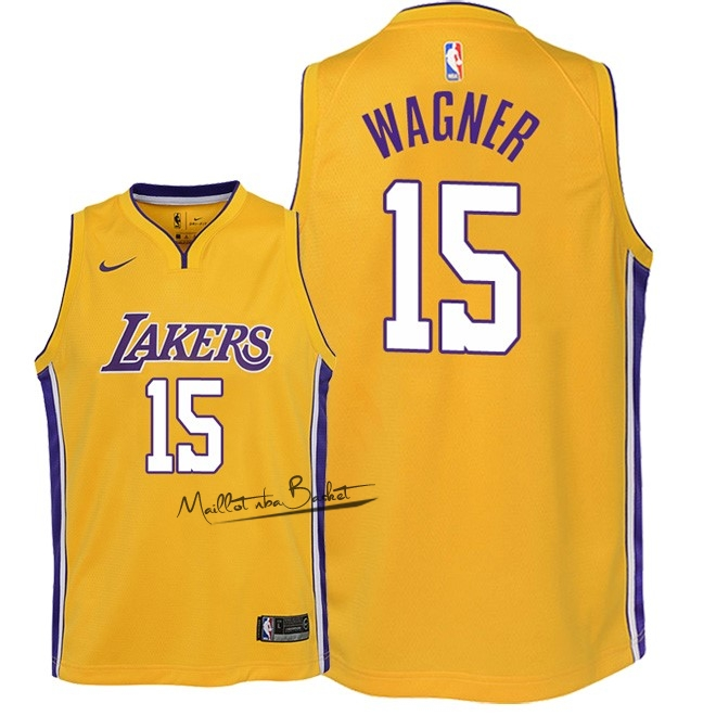 Maillot NBA Enfant Los Angeles Lakers NO.15 Moritz Wagner Jaune Icon 2018