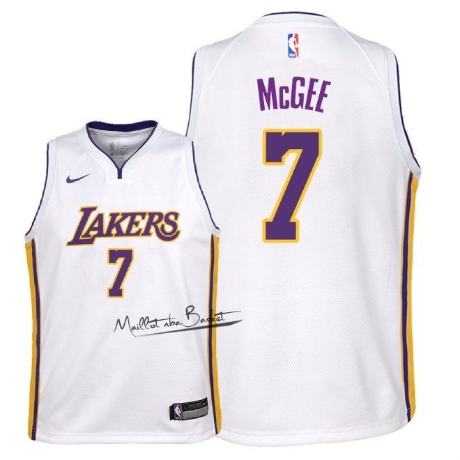 Maillot NBA Enfant Los Angeles Lakers NO.7 JaVale McGee Blanc Association 2018