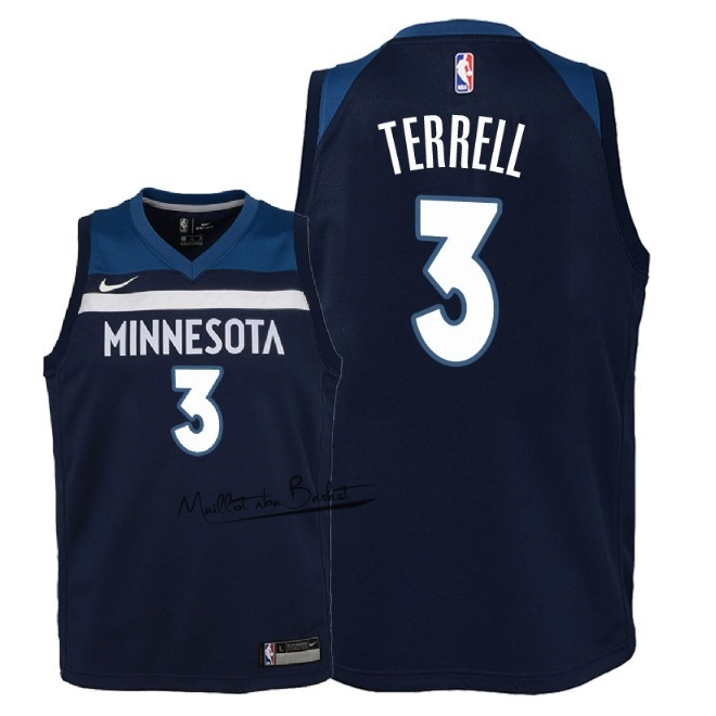 Maillot NBA Enfant Minnesota Timberwolves NO.3 Jared Terrell Marine Icon 2018