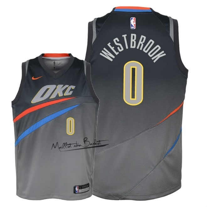 Maillot NBA Enfant Oklahoma City Thunder NO.0 Russell Westbrook Nike Gris Ville 2018