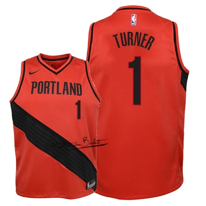 Maillot NBA Enfant Portland Trail Blazers NO.1 Evan Turner Rouge Statement 2018