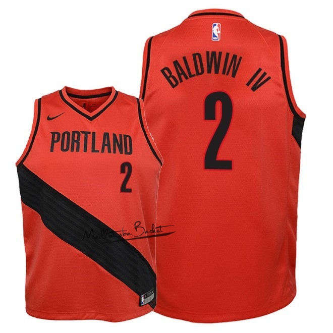 Maillot NBA Enfant Portland Trail Blazers NO.2 Wade Baldwin IV Rouge Statement 2018