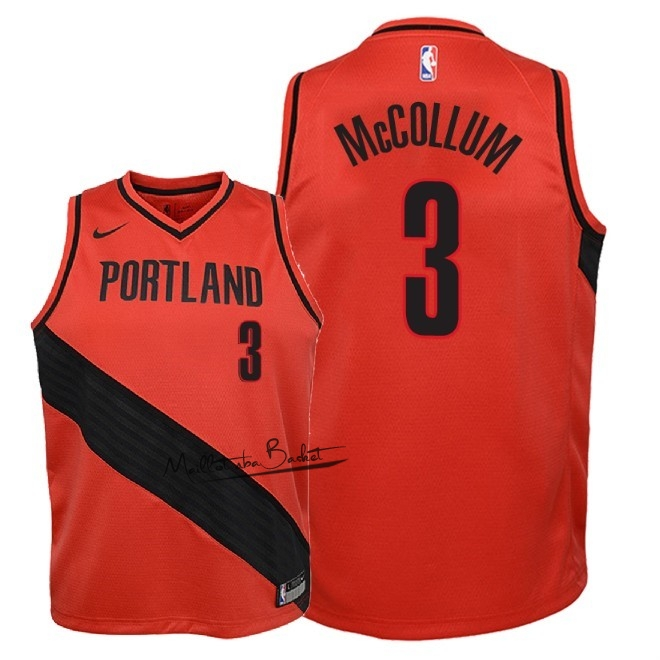 Maillot NBA Enfant Portland Trail Blazers NO.3 C.J. McCollum Rouge Statement 2018