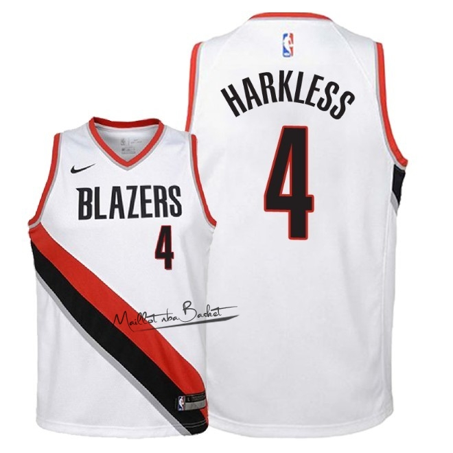 Maillot NBA Enfant Portland Trail Blazers NO.4 Maurice Harkless Blanc Association 2018