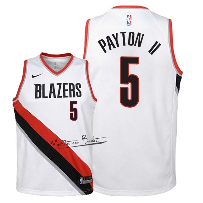 Maillot NBA Enfant Portland Trail Blazers NO.5 Gary Payton II Blanc Association 2018