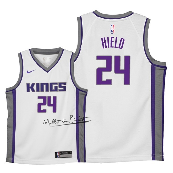 Maillot NBA Enfant Sacramento Kings NO.24 Buddy Hield Blanc Association 2018