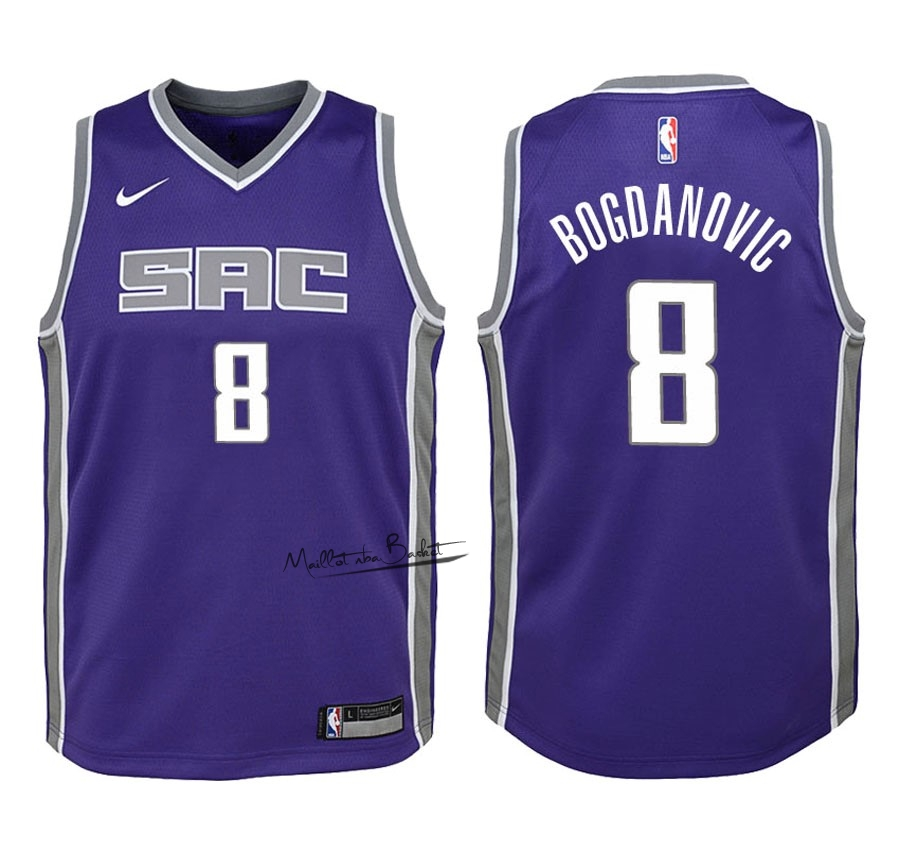 Maillot NBA Enfant Sacramento Kings NO.8 Bogdan Bogdanovic Pourpre Icon 2018