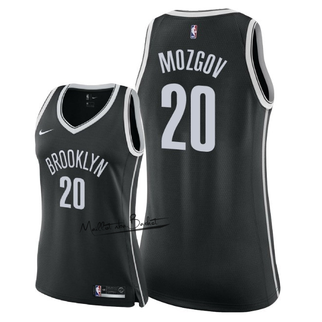 Maillot NBA Femme Brooklyn Nets NO.20 Timofey Mozgov Noir Icon 2018