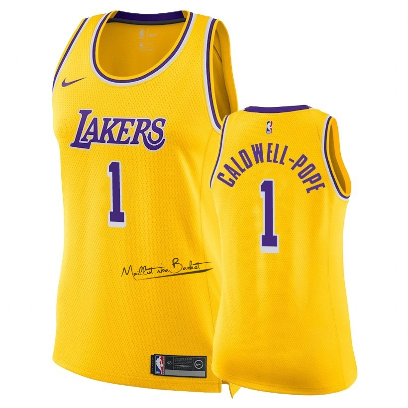 Maillot NBA Femme Los Angeles Lakers NO.1 Kentavious Caldwell Pope Jaune Icon 2018-19