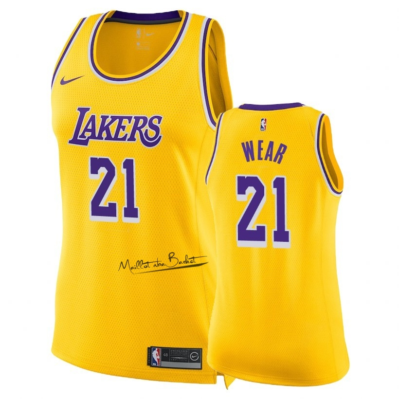 Maillot NBA Femme Los Angeles Lakers NO.21 Travis Wear Jaune Icon 2018-19