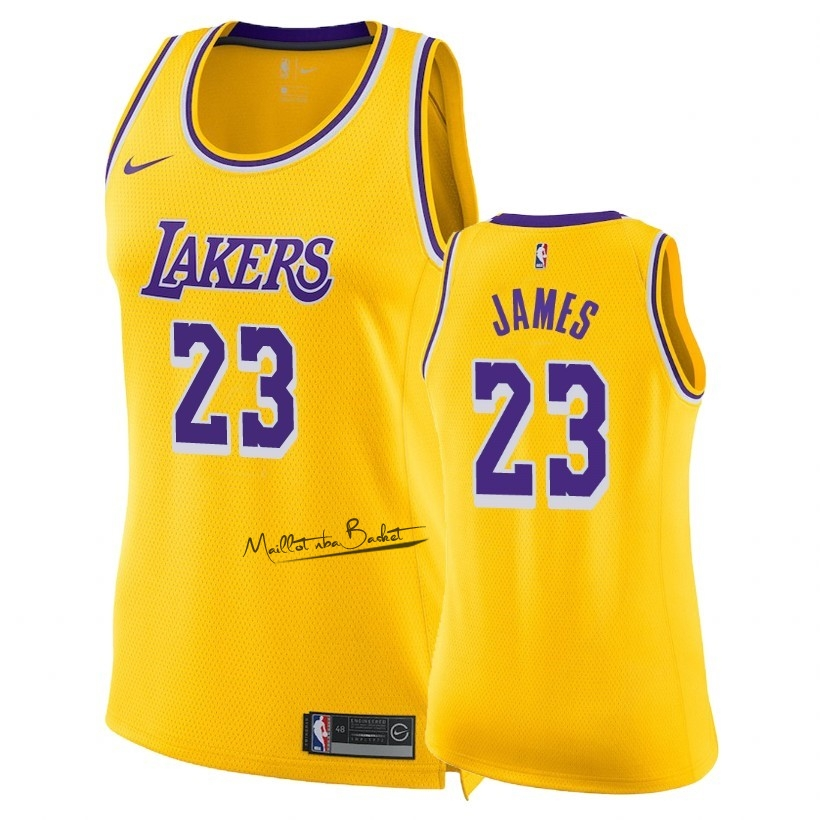 Maillot NBA Femme Los Angeles Lakers NO.23 LeBron James Jaune Icon 2018-19