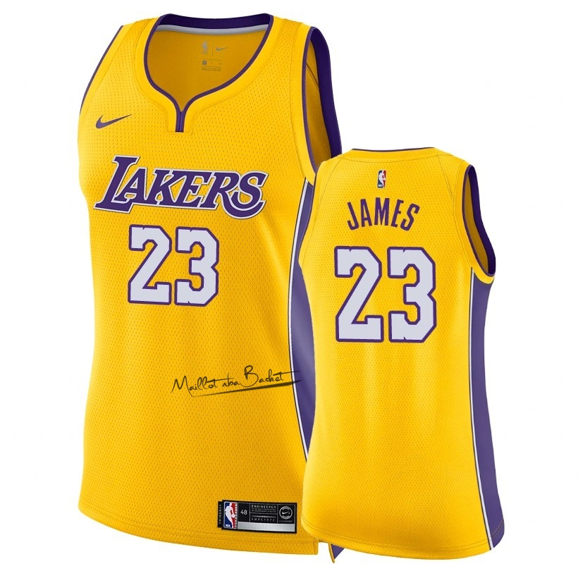Maillot NBA Femme Los Angeles Lakers NO.23 LeBron James Jaune Icon 2018