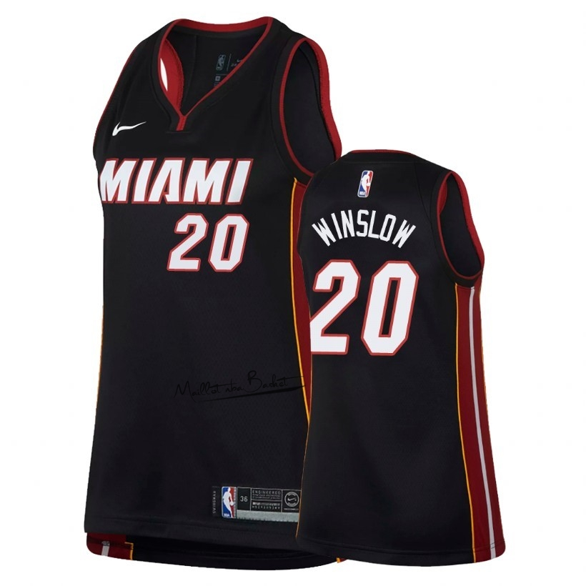 Maillot NBA Femme Miami Heat NO.20 Justise Winslow Noir Icon 2018