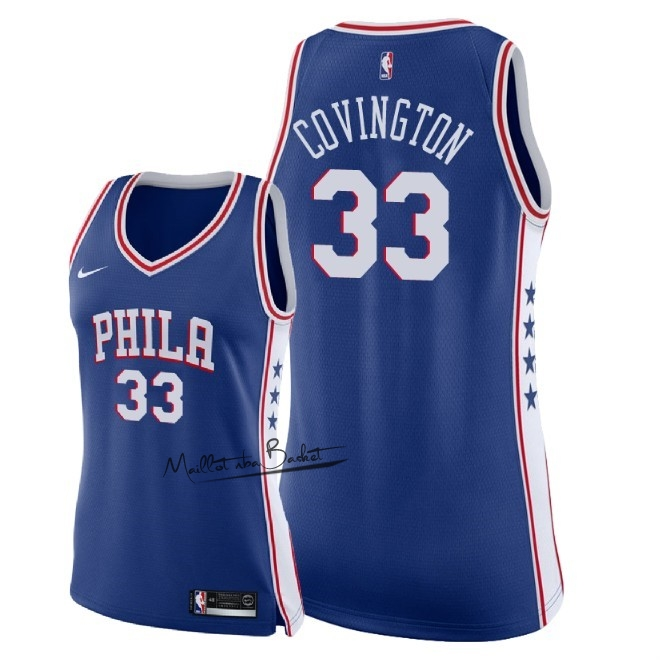 Maillot NBA Femme Philadelphia Sixers NO.33 Robert Covington Bleu Icon 2018