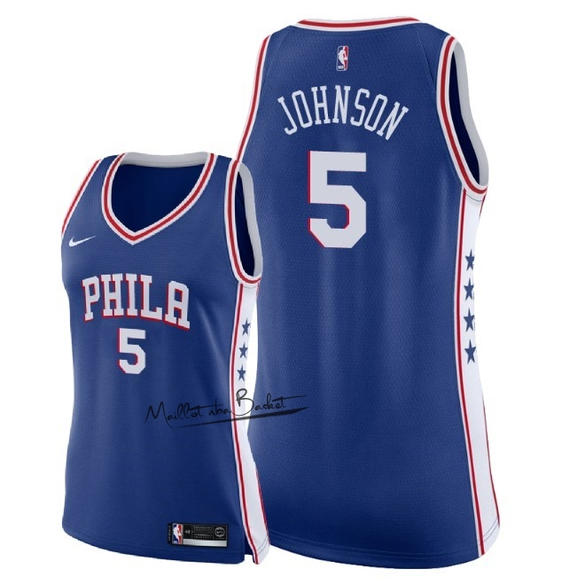Maillot NBA Femme Philadelphia Sixers NO.5 Amir Johnson Bleu Icon 2018