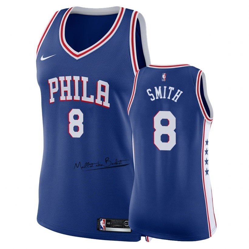Maillot NBA Femme Philadelphia Sixers NO.8 Zhaire Smith Bleu Icon 2018