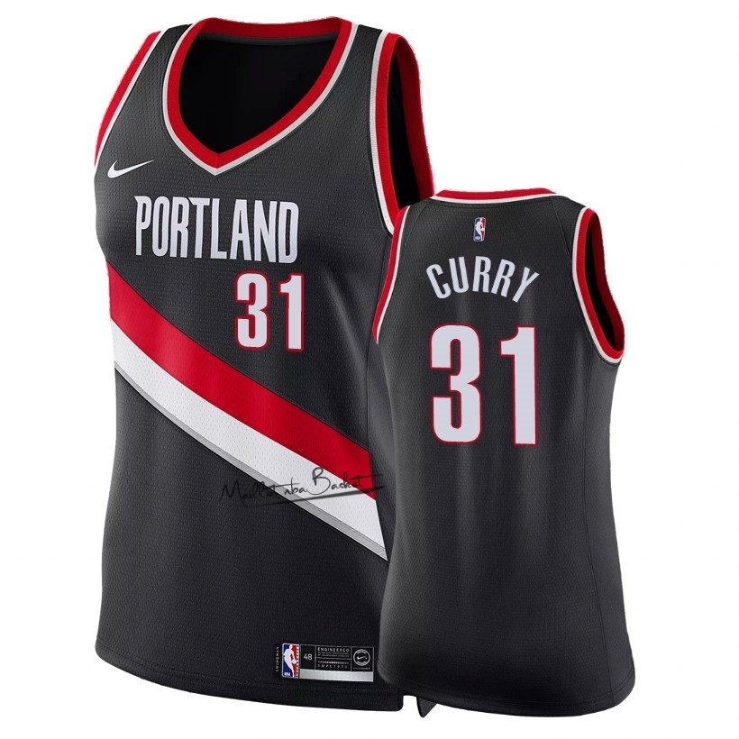 Maillot NBA Femme Portland Trail Blazers NO.31 Seth Curry Noir Icon 2018