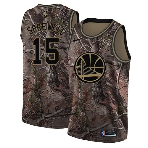 Maillot NBA Golden State Warriors NO.15 Latrell Sprewell Camo Swingman Collection Realtree 2018