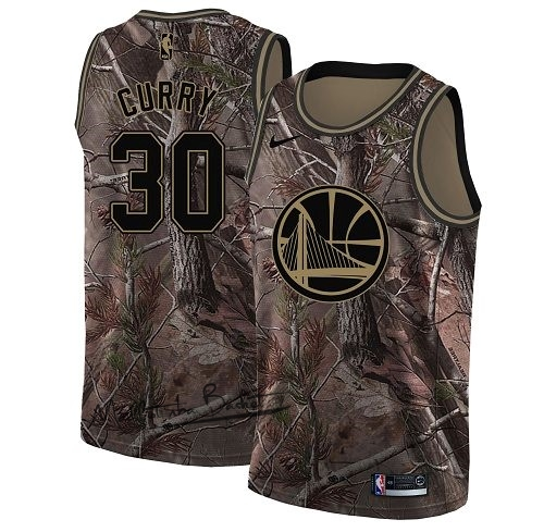 Maillot NBA Golden State Warriors NO.30 Stephen Curry Camo Swingman Collection Realtree 2018