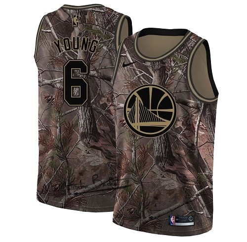 Maillot NBA Golden State Warriors NO.6 Nick Young Camo Swingman Collection Realtree 2018