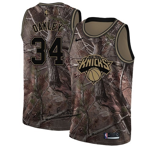 Maillot NBA New York Knicks NO.34 Charles Oakley Camo Swingman Collection Realtree 2018