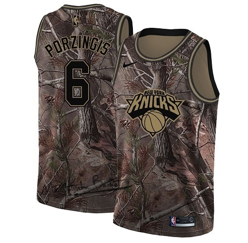 Maillot NBA New York Knicks NO.6 Kristaps Porzingis Camo Swingman Collection Realtree 2018