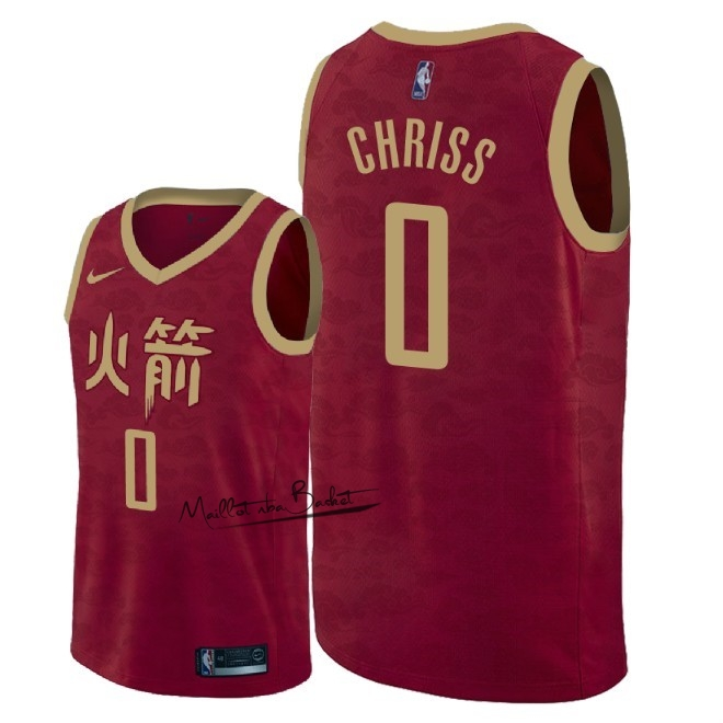 Maillot NBA Nike Houston Rockets NO.0 Marquese Chriss Nike Rouge Ville 2018-19