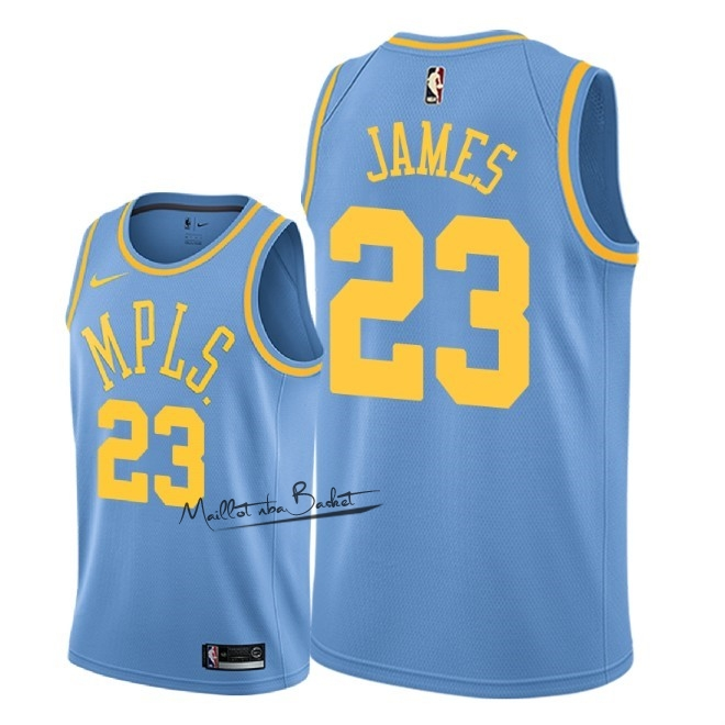 Maillot NBA Nike Los Angeles Lakers NO.23 Lebron James Retro Bleu 2018