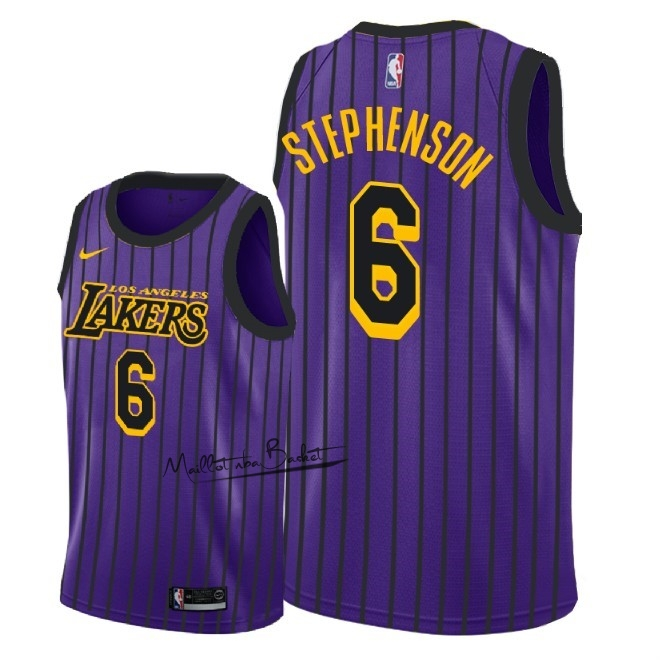 Maillot NBA Nike Los Angeles Lakers NO.6 Lance Stephenson Nike Pourpre Ville 2018-19