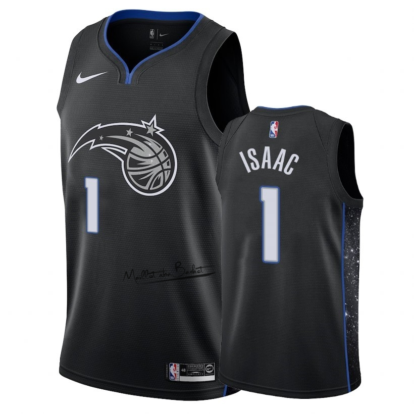 Maillot NBA Nike Orlando Magic NO.1 Jonathan Isaac Nike Noir Ville 2018-19