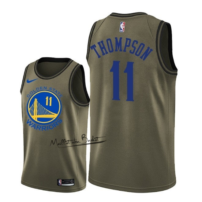 Maillot NBA Service De Salut Golden State Warriors NO.11 Klay Thompson Nike Armée verte 2018