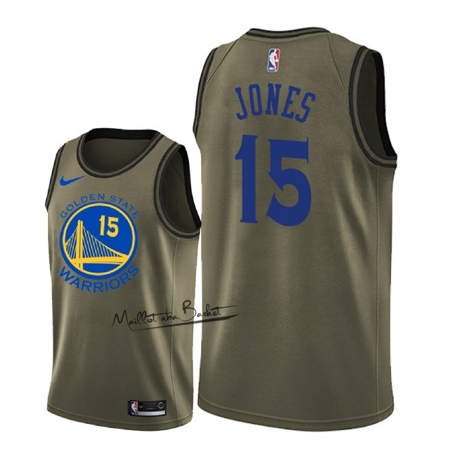 Maillot NBA Service De Salut Golden State Warriors NO.15 Damian Jones Nike Armée verte 2018