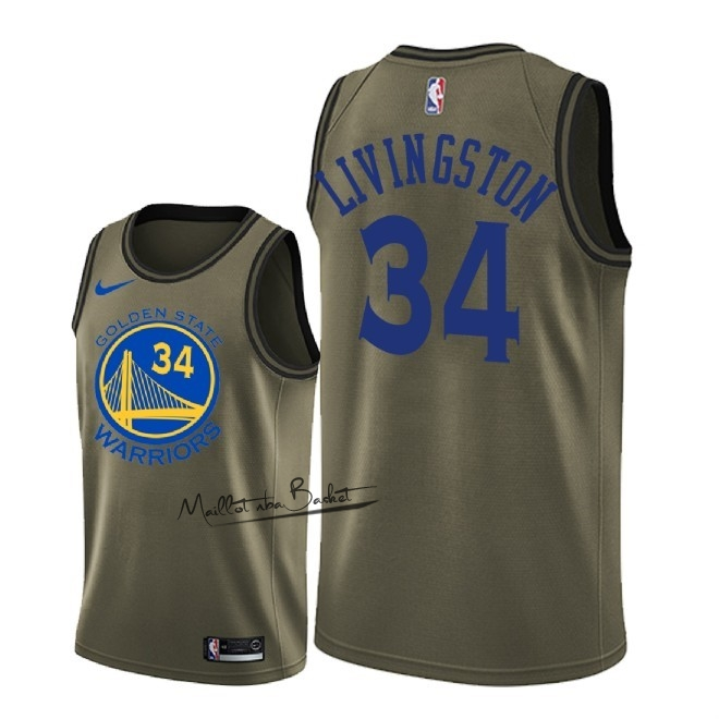 Maillot NBA Service De Salut Golden State Warriors NO.34 Shaun Livingston Nike Armée verte 2018