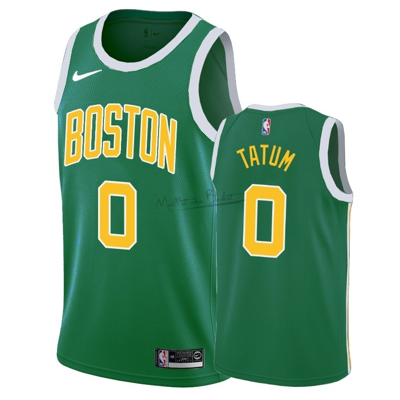 Maillot Earned Edition Boston Celtics NO.0 Jayson Tatum Vert 2018-19