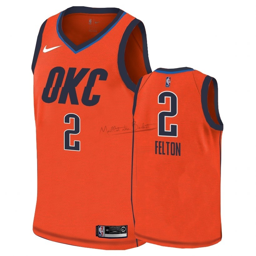 Maillot Earned Edition Oklahoma City Thunder NO.2 Raymond Felton Orange 2018-19