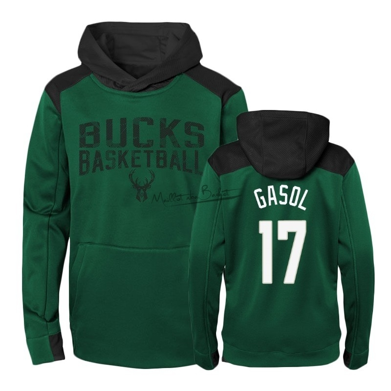 Hoodies NBA Enfant Milwaukee Bucks NO.17 Pau Gasol Vert