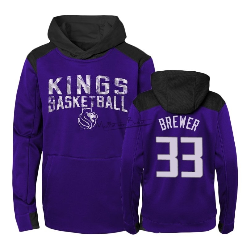 Hoodies NBA Enfant Sacramento Kings NO.33 Corey Brewer Pourpre