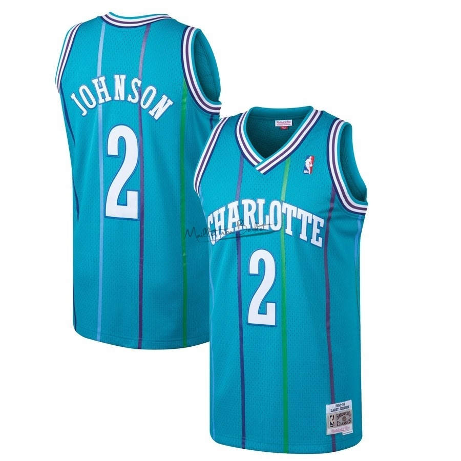 Maillot NBA Charlotte Hornets NO.2 Larry Johnson Bleu Hardwood Classics 1992-93
