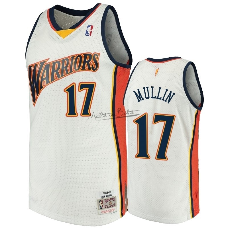 Maillot NBA Golden State Warriors NO.17 Chris Mullin Blanc Hardwood Classics