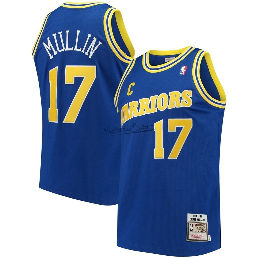 Maillot NBA Golden State Warriors NO.17 Chris Mullin Bleu Hardwood Classics 1993-94