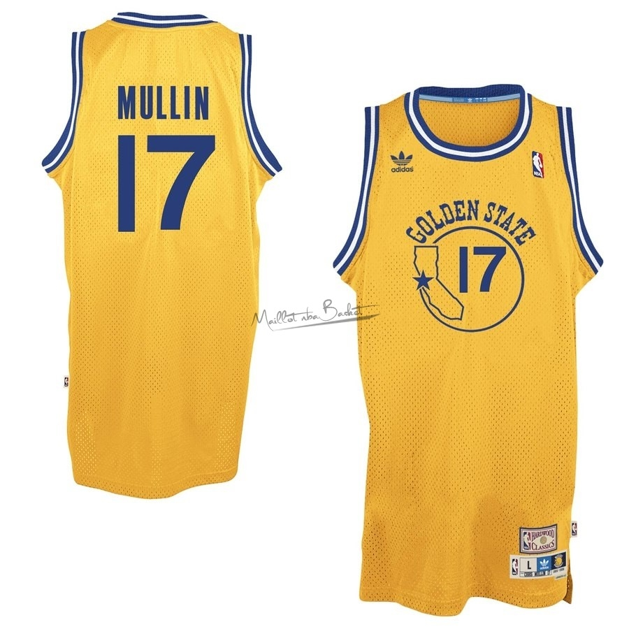 Maillot NBA Golden State Warriors NO.17 Chris Mullin Jaune Hardwood Classics
