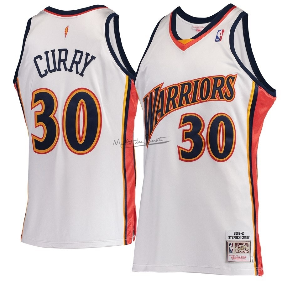 Maillot NBA Golden State Warriors NO.30 Stephen Curry Blanc Hardwood Classics 2009-10