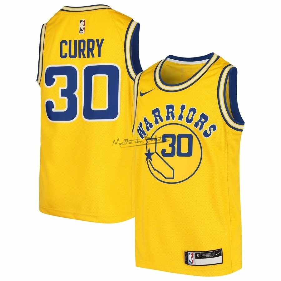 Maillot NBA Golden State Warriors NO.30 Stephen Curry Jaune Hardwood Classics 2009-10