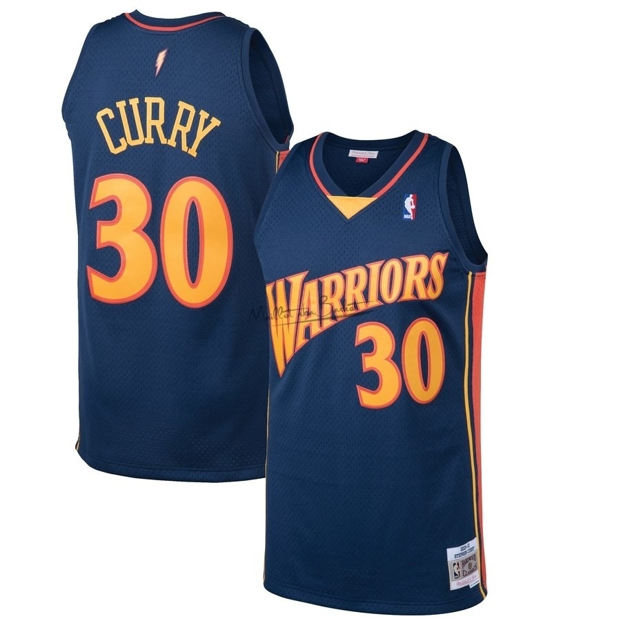 Maillot NBA Golden State Warriors NO.30 Stephen Curry Noir Hardwood Classics 2009-10