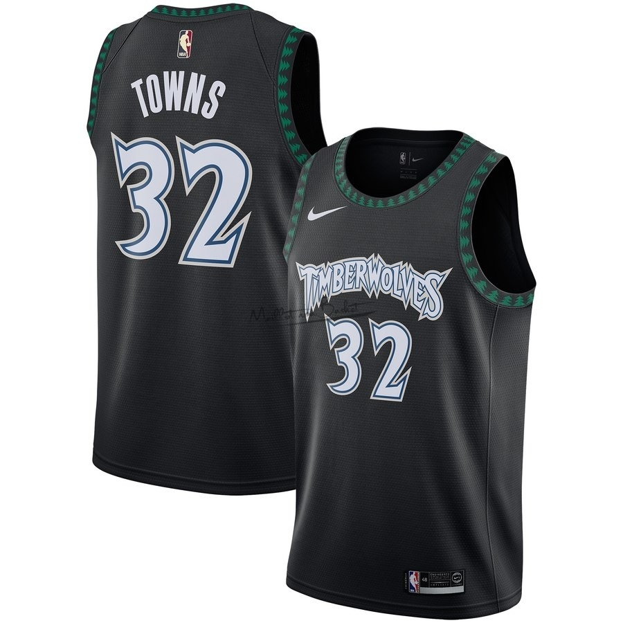 Maillot NBA Minnesota Timberwolves NO.32 Karl Anthony Towns Noir Hardwood Classics