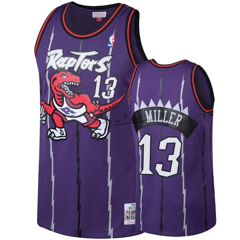Maillot NBA Toronto Raptors NO.13 Malcolm Miller Pourpre Hardwood Classic 1998-99