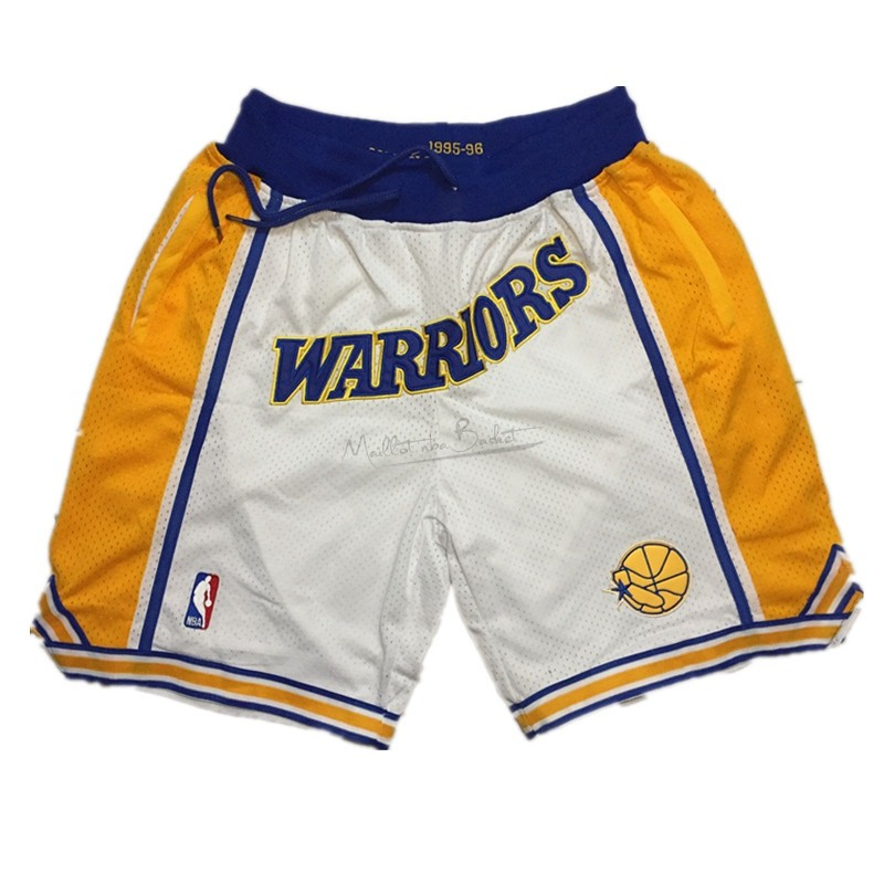 Short Basket Golden State Warriors Curry Blanc