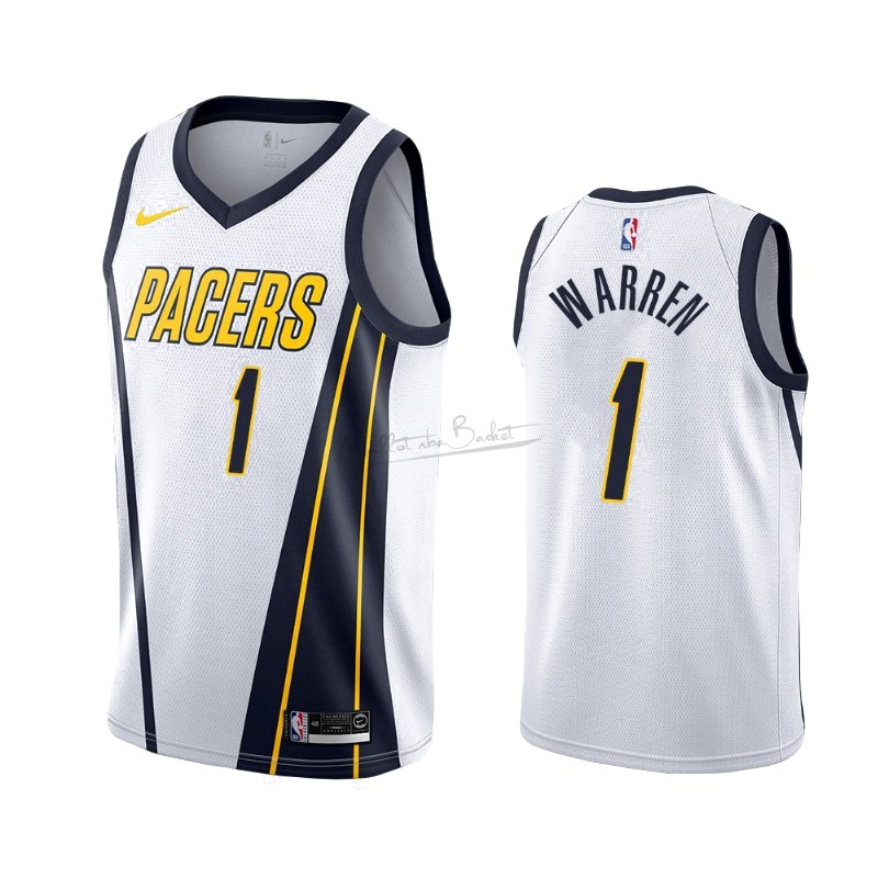 Maillot Earned Edition Indiana Pacers NO.26 T.J. Warren Gray Blanc 2019-20