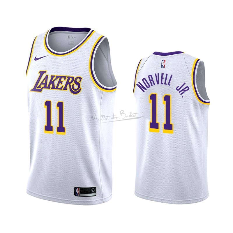 Maillot NBA Nike Los Angeles Lakers NO.11 Zach Norvell Jr Blanc Association 2019-20